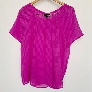 ANA Fuschia Purple Sheer Short Sleeve Top Shirt